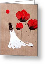 Lady Of The Poppies -contemporary Abstract Woman Red Flowers Fantasy Greeting Card by Catherine Jeltes