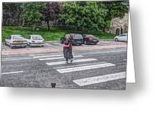 Lady On A Crossing Greeting Card