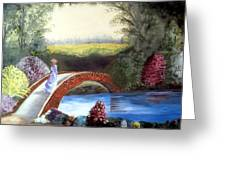 Lady On The Bridge Greeting Card