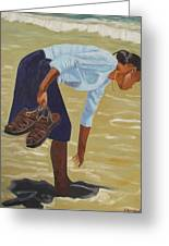 Lady On The Seashore Greeting Card