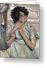 Lady Playing Flute Greeting Card
