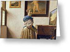 Lady Standing At The Virginal Greeting Card