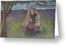 Lady Under A Tree Greeting Card