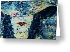 Lady Wears A Hat In Blue Greeting Card