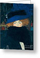 Lady With A Hat And A Feather Boa Greeting Card