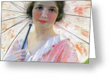 Lady With A Parasol 1921 Greeting Card