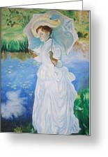 Lady With A Parasole  Greeting Card