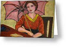 Lady With An Umbrella Greeting Card
