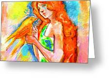 Lady With Canary Greeting Card