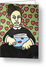 Lady With Fish Bowl Greeting Card by Thomas Valentine