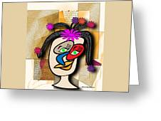 Lady With Flowers In Her Hair Greeting Card