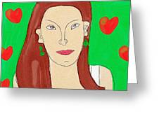 Lady With Green Earrings. Greeting Card