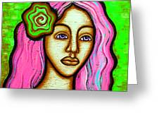 Lady With Green Flower-pink Greeting Card by Brenda Higginson