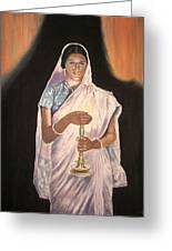 Lady With Lamp Greeting Card