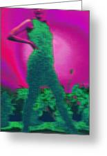Lady With Plants In Green Greeting Card