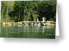 Lake At Cinco Ranch With Scripture Greeting Card