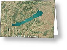 Lake Balaton 3d Render Satellite View Topographic Map Greeting Card