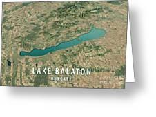 Lake Balaton 3d Render Satellite View Topographic Map Horizontal Greeting Card