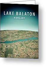 Lake Balaton 3d Render Satellite View Topographic Map Vertical Greeting Card