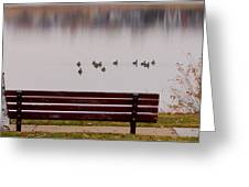 Lake Bench Greeting Card