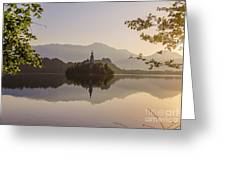 Lake Bled At Sunrise Greeting Card