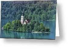 Lake Bled Island Greeting Card