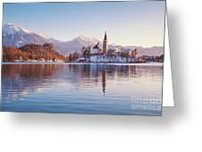 Lake Bled Winter Sunrise Greeting Card