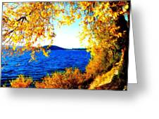 Lake Coeur D'alene Through Golden Leaves Greeting Card