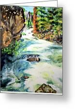 Lake Como Waterfall Greeting Card