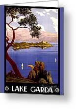 Lake Garda Vintage Poster Restored Greeting Card