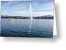 Lake Geneva Switzerland With Water Fountain And Water Taxi On A  Greeting Card