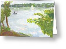 Lake Harriet With Sailboat And Angler Greeting Card