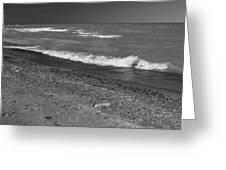 Lake Huron Windy Day 4 Bw Greeting Card
