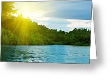 Lake In Deep Forest Greeting Card