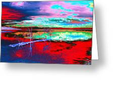 Lake In Red Greeting Card