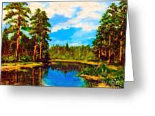 Lake In The Forest  Greeting Card