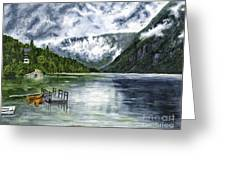 Lake In The Julian Alps Slovenia Painting Greeting Card