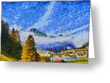 Lake In The Middle Of Swiss Beauty Greeting Card