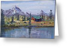 Lake Jenny Cabin Grand Tetons Greeting Card