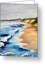 Lake Michigan Beach With Whitecaps Detail Greeting Card