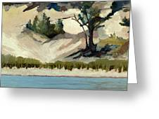 Lake Michigan Dune With Trees And Beach Grass Greeting Card