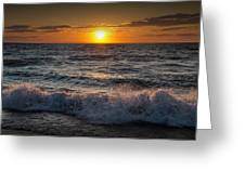Lake Michigan Sunset With Crashing Shore Waves Greeting Card