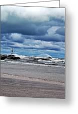 Lake Michigan With Big Wind  Greeting Card