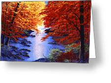 Lake Mist In Autumn Greeting Card