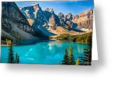 Lake Moraine Valley Of Ten Peaks Greeting Card
