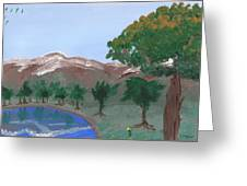 Lake Reflection Greeting Card by M Valeriano