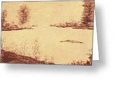 Lake Scene On Parchment Greeting Card