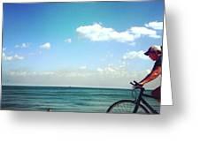 Lake Shore Bike, Blue Sky Water Horizon, Chicago Greeting Card