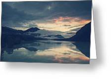 Lake Sylvenstein With Red Sky Greeting Card