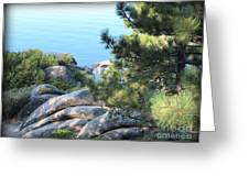 Lake Tahoe And Boulders Greeting Card